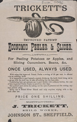 Advert for Tricket's vegetable peeler & slicer